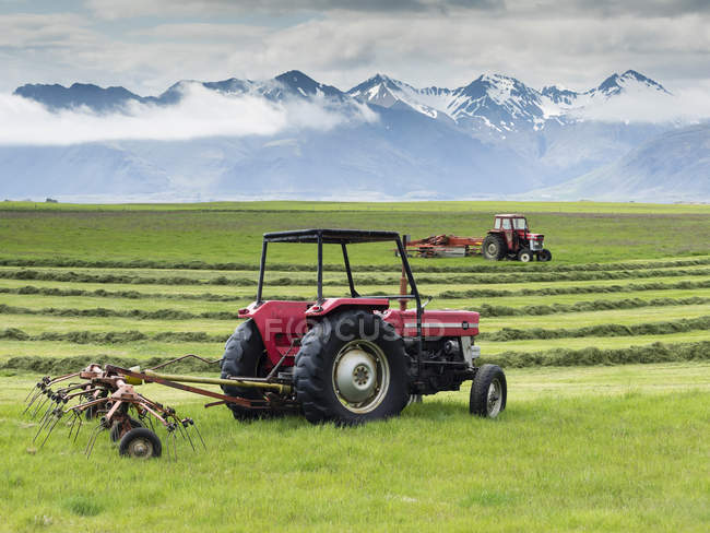 Deux tracteurs rouges sur une ferme — Photo de stock