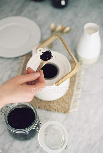 Woman preparing tea. — Stock Photo