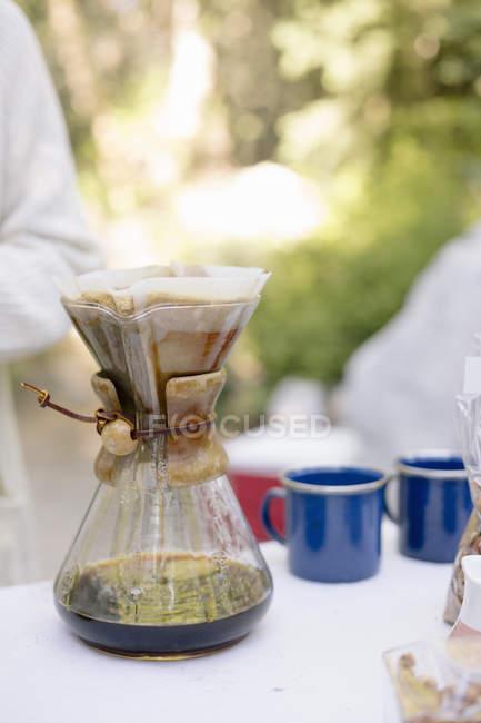 Fabricante de café de vidro — Fotografia de Stock