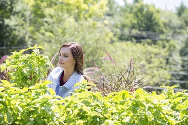 Giovane donna in piedi in un giardino — Foto stock