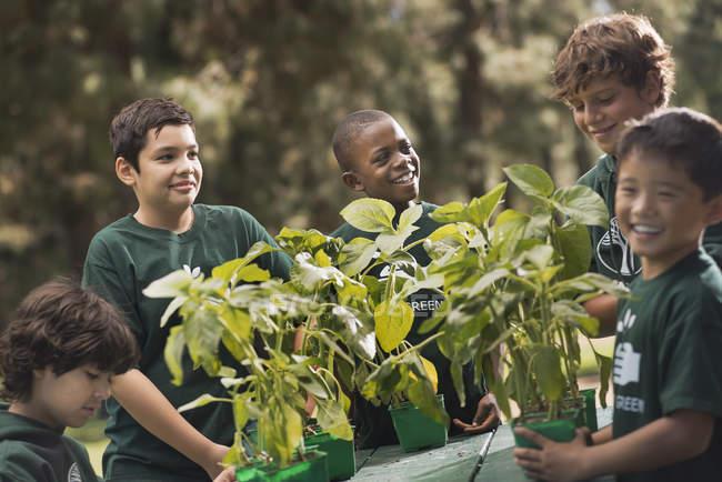 Дети узнают о растениях и цветах — стоковое фото