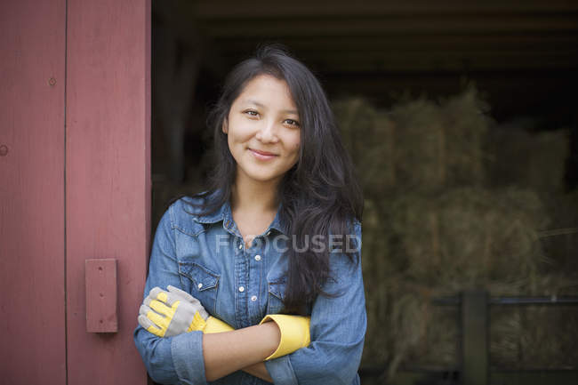 Woman on a traditional farm — Stock Photo