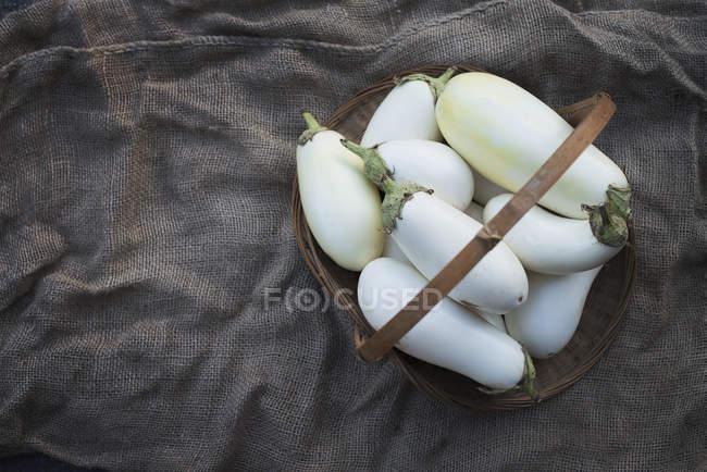Organic White Eggplants — Stock Photo