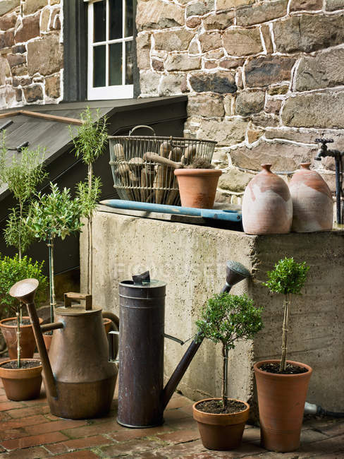 Collection of old watering cans — Stock Photo