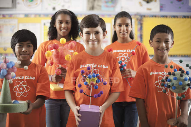 Children wearing the teeshirt of the Science Club — Stock Photo