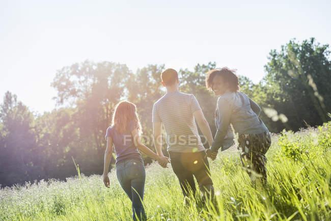 Three people walking hand in hand through grass — Stock Photo