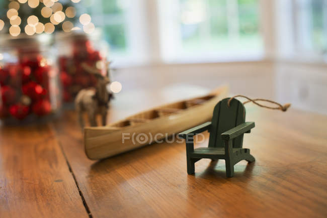 Christmas Decorations on table — Stock Photo