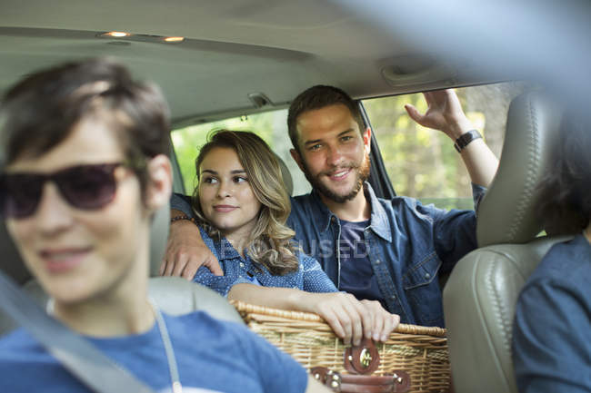 Group of people inside a car — Stock Photo