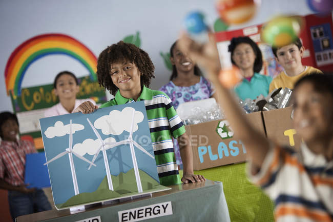 Children at a Green Science Fair event — Stock Photo