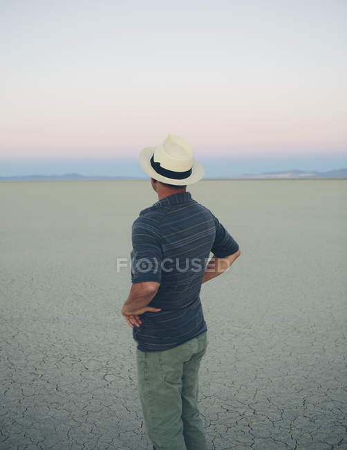 Man taking in view of play at dawn — Stock Photo
