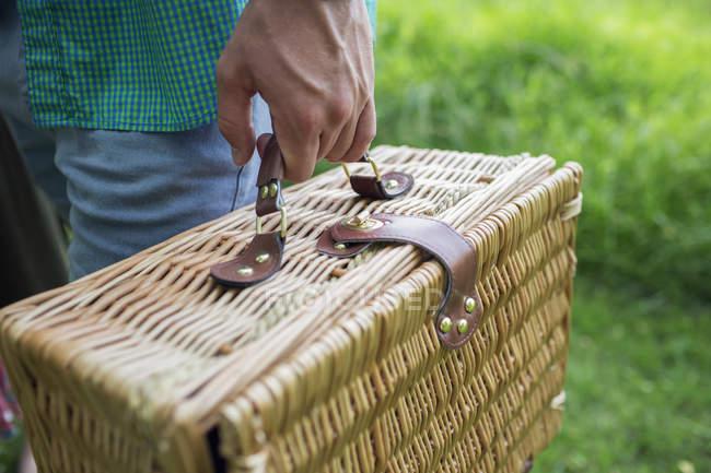 Hand, die einen Picknickkorb. — Stockfoto