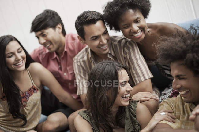 Six young people laughing. — Stock Photo