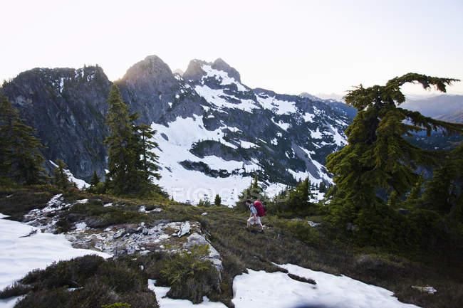 Mann wandert auf Berg — Stockfoto