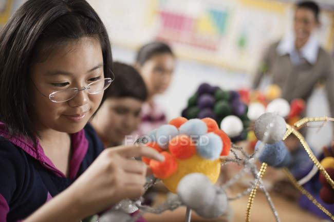 Group making scientific models — Stock Photo