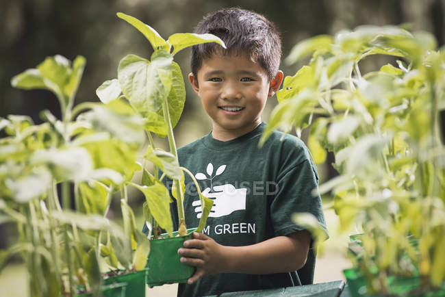 Азіатський хлопчика в розплідники заводі. — стокове фото