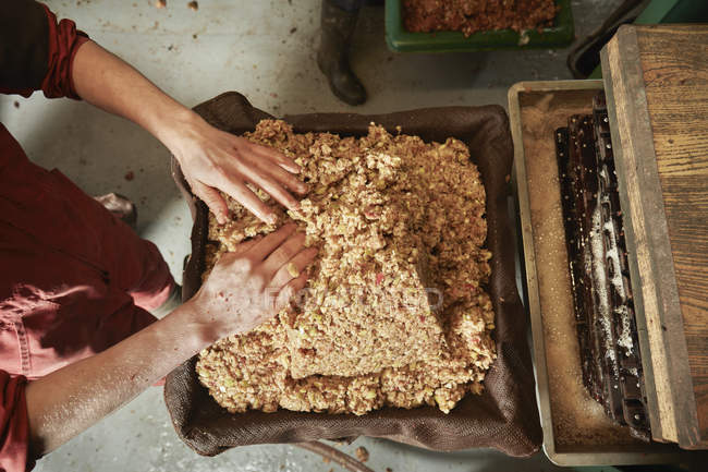 Cider maker pressing the pulp — Stock Photo