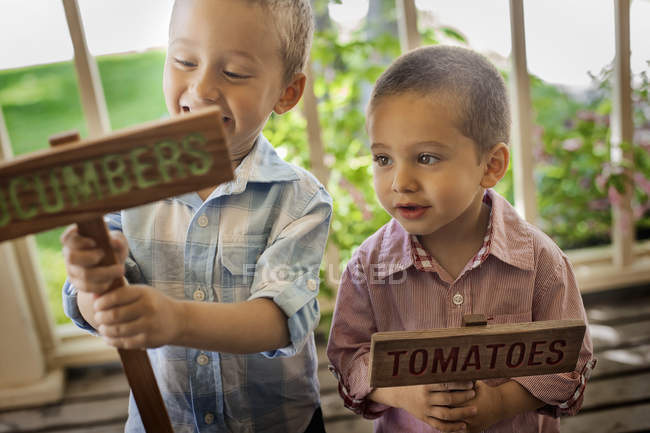 Boys making signs for vegetable seeds — Stock Photo