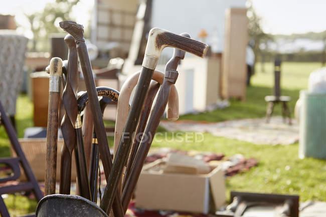 Selección de bastones de madera - foto de stock