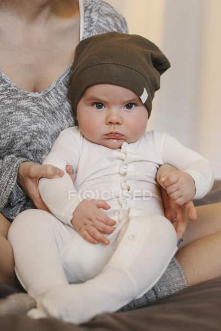 Little cute serious infant boy — Stock Photo