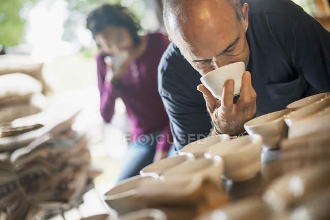Процедура отбора проб в кофейне — стоковое фото