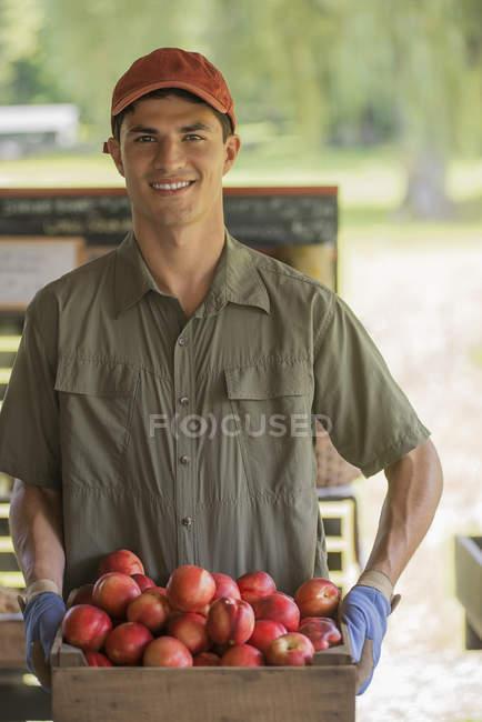 Man holding baskets of fresh fruit — Stock Photo