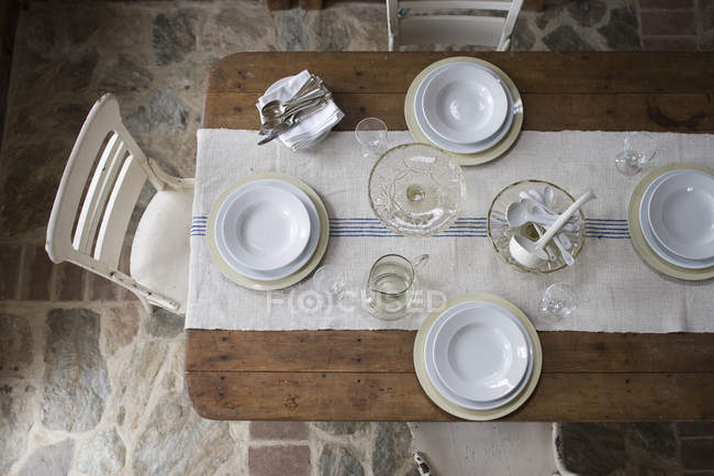 Overhead view of a table — Stock Photo