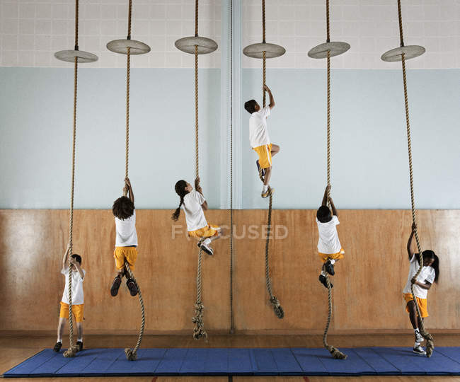 Group of children climbing up the ropes. — Stock Photo