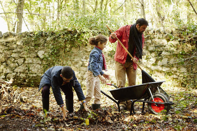 Family raking and scooping up leaves — Stock Photo