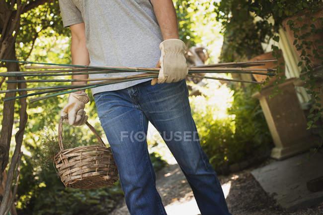 Man wearing on Organic farm — Stock Photo
