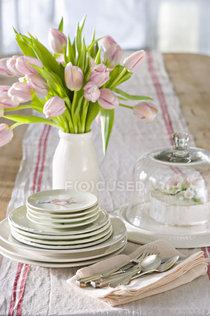 Table laid for a meal — Stock Photo