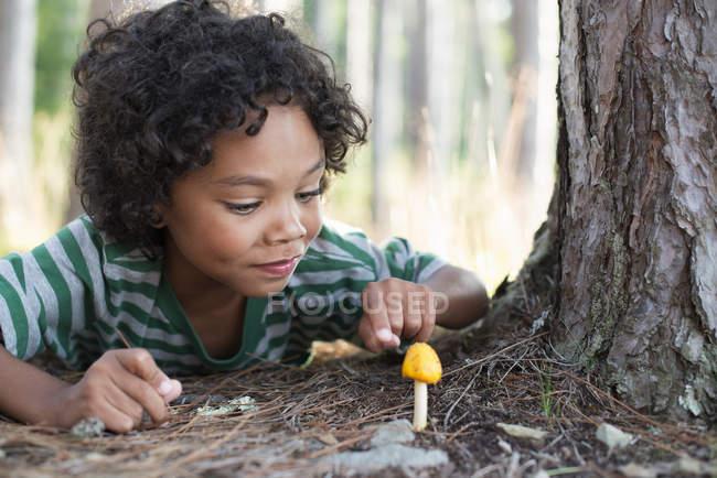 Child lying down inspecting mushroom — Stock Photo