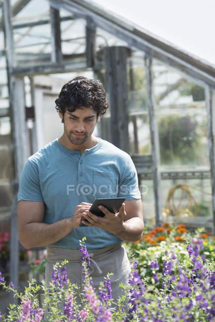 Homem que trabalha em um viveiro de plantas — Fotografia de Stock