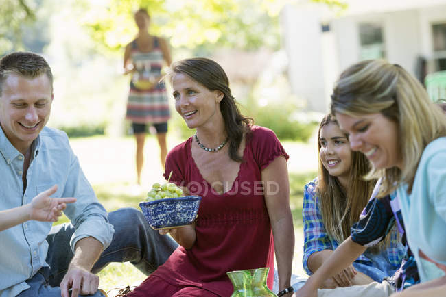 Adults and children on family party. — Stock Photo