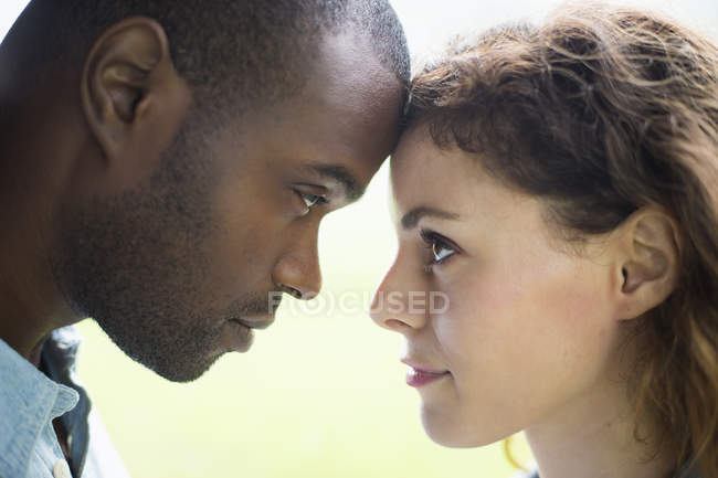 Couple Touching foreheads — Stock Photo