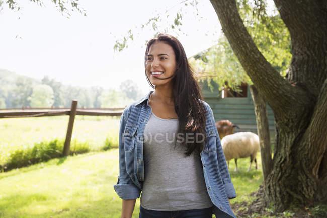 Frau auf der Koppel mit Schafen — Stockfoto