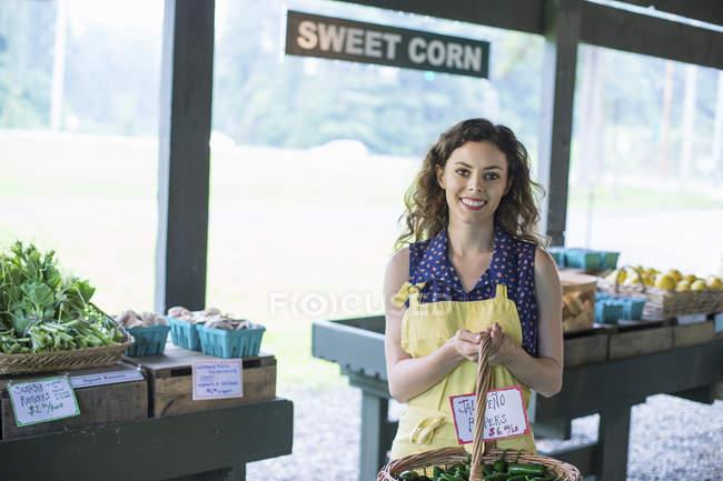 Женщина с корзиной продуктов . — стоковое фото