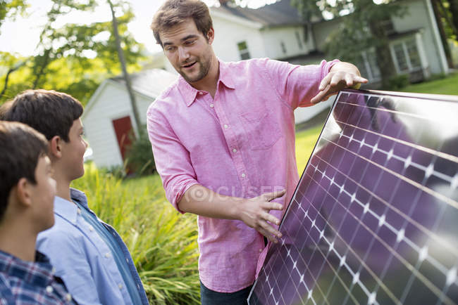 Solar panel in a garden. — Stock Photo