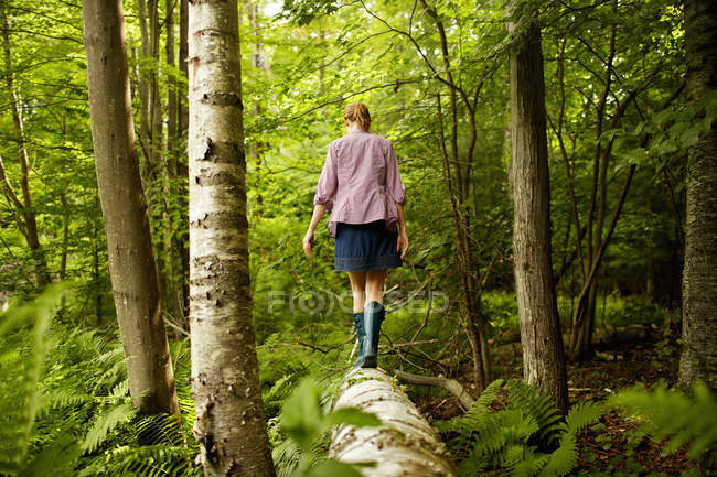 Woman walking along a fallen trunk — Stock Photo