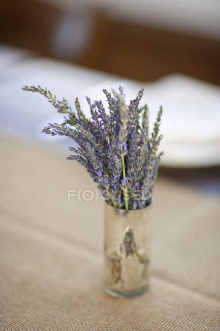 Pote com flores frescas de alfazema — Fotografia de Stock