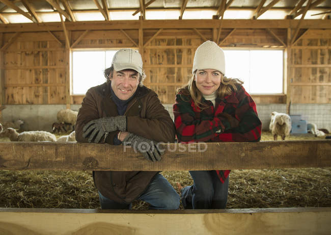 People standing by a pen full of sheep. — Stock Photo