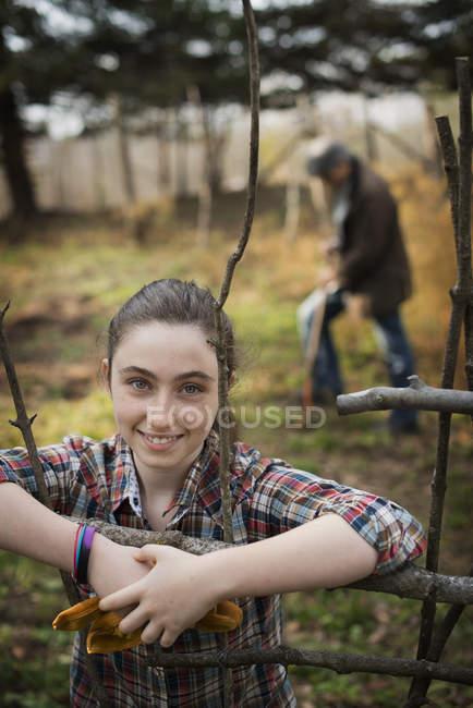 Young girl on organic farm. — Stock Photo