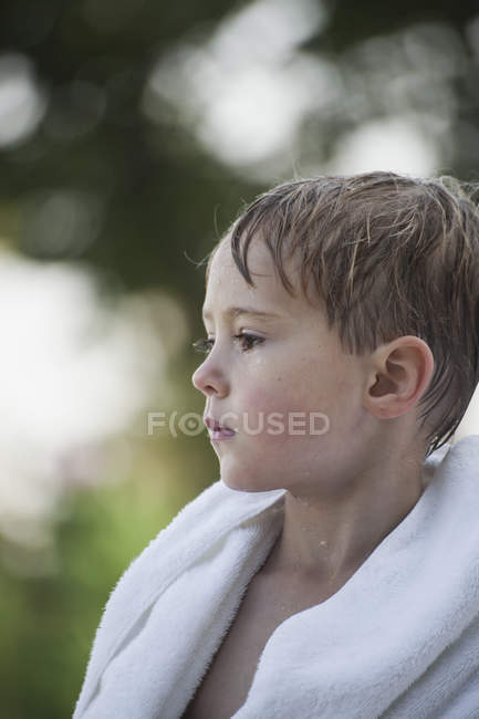 Young boy with wet hair — Stock Photo