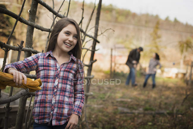 Young girl on organic farm. — Stock Photo