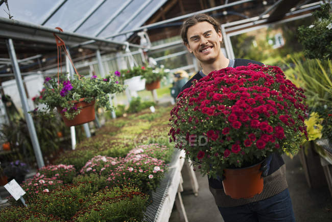 Man holding a large pot of flowers — Stock Photo