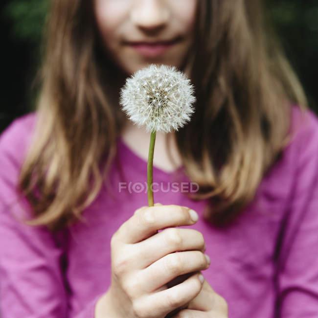 Girl holding a dandelion clock seedhead — Stock Photo