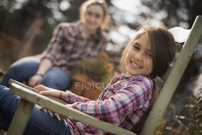 Sisters on organic farm. — Stock Photo