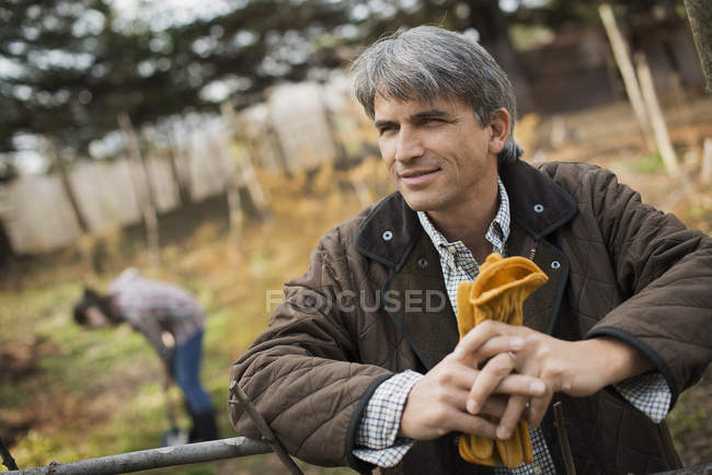 Man on organic farm — Stock Photo