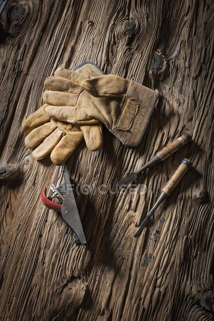 Reclaimed lumber yard workshop. — Stock Photo