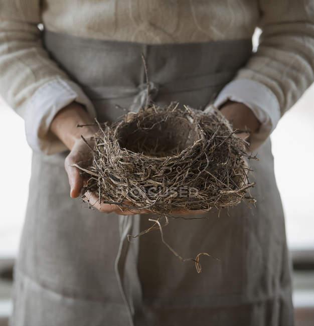 Mulher segurando o ninho de pássaro — Fotografia de Stock