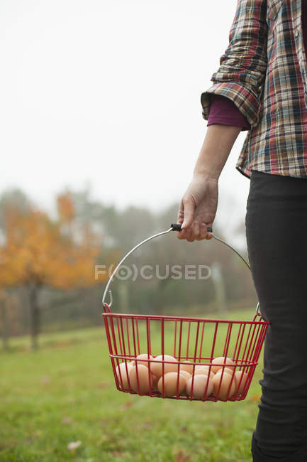 Woman carrying basket of eggs — Stock Photo